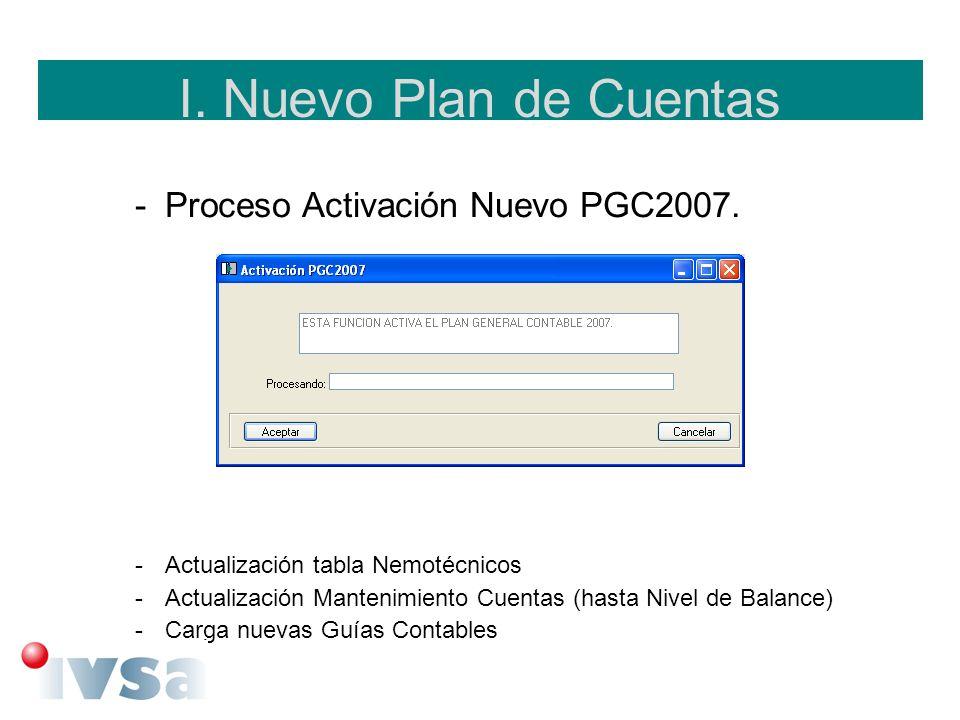 I. Nuevo Plan de Cuentas -Proceso Activación Nuevo PGC2007. -Actualización tabla Nemotécnicos -Actualización Mantenimiento Cuentas (hasta Nivel de Bal
