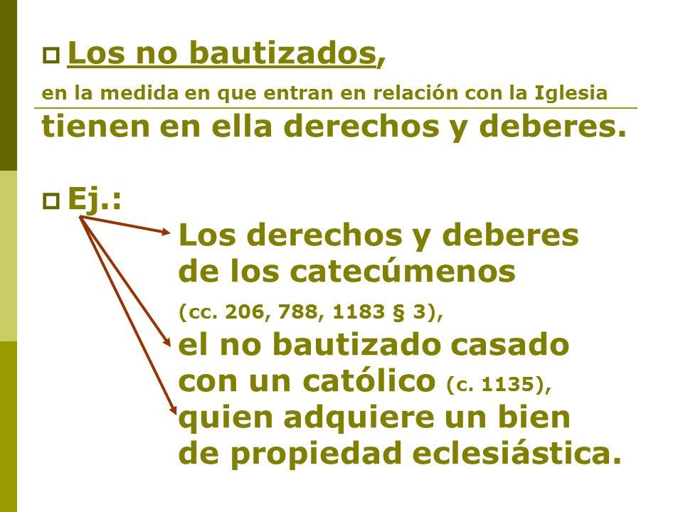 Los no bautizados, en la medida en que entran en relación con la Iglesia tienen en ella derechos y deberes. Ej.: Los derechos y deberes de los catecúm