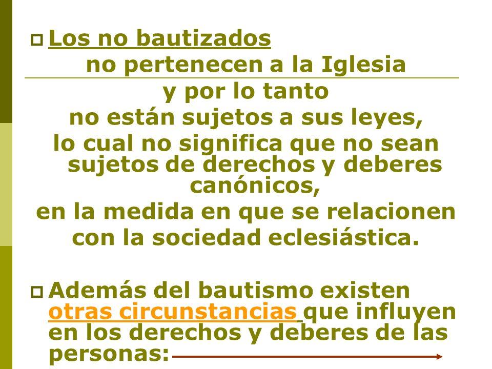 Los no bautizados no pertenecen a la Iglesia y por lo tanto no están sujetos a sus leyes, lo cual no significa que no sean sujetos de derechos y deber
