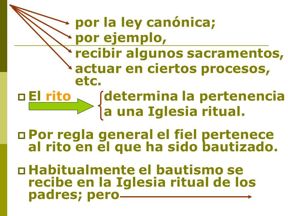 por la ley canónica; por ejemplo, recibir algunos sacramentos, actuar en ciertos procesos, etc. El rito determina la pertenencia a una Iglesia ritual.