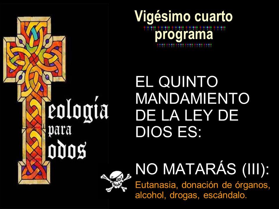 Vigésimo cuarto programa EL QUINTO MANDAMIENTO DE LA LEY DE DIOS ES: NO MATARÁS (III): Eutanasia, donación de órganos, alcohol, drogas, escándalo.