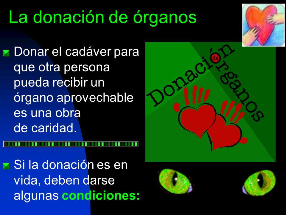 Donar el cadáver para que otra persona pueda recibir un órgano aprovechable es una obra de caridad. Si la donación es en vida, deben darse algunas con