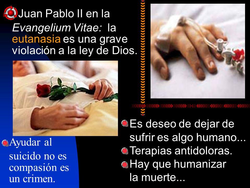 Juan Pablo II en la Evangelium Vitae: la eutanasia es una grave violación a la ley de Dios. Es deseo de dejar de sufrir es algo humano... Terapias ant