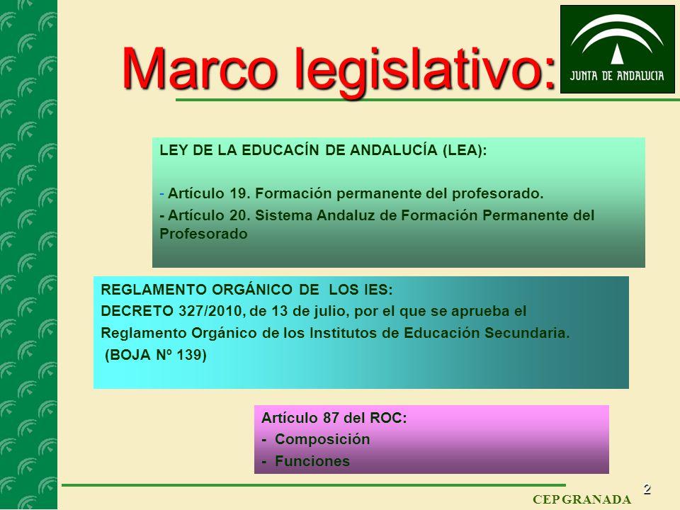 1 CEP GRANADA Miércoles, 28 de septiembre de 2011 EL DEPARTAMENTO DE FORMACIÓN, EVALUACIÓN E INNOVACIÓN EDUCATIVA (FEI): ORIGEN Y FUNCIONES