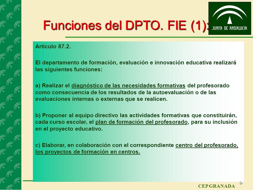 4 CEP GRANADA Composición del DPTO. FIE: Artículo 87.1. El departamento de formación, evaluación e innovación educativa estará compuesto por: a) La pe