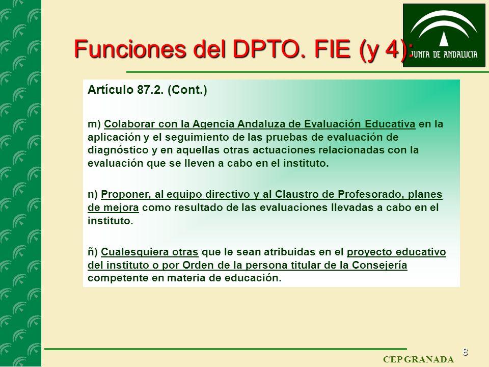 7 CEP GRANADA Funciones del DPTO. FIE (3): Artículo 87.2. (Cont.) h) Informar al profesorado sobre líneas de investigación didáctica innovadoras que s
