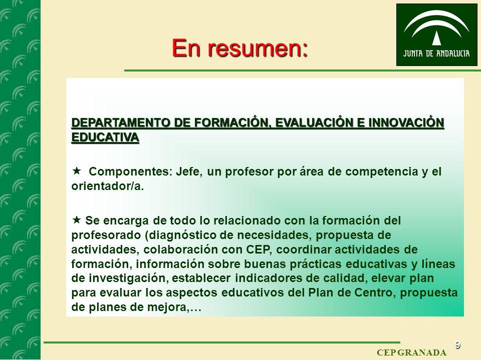 8 CEP GRANADA Funciones del DPTO. FIE (y 4): Artículo 87.2. (Cont.) m) Colaborar con la Agencia Andaluza de Evaluación Educativa en la aplicación y el