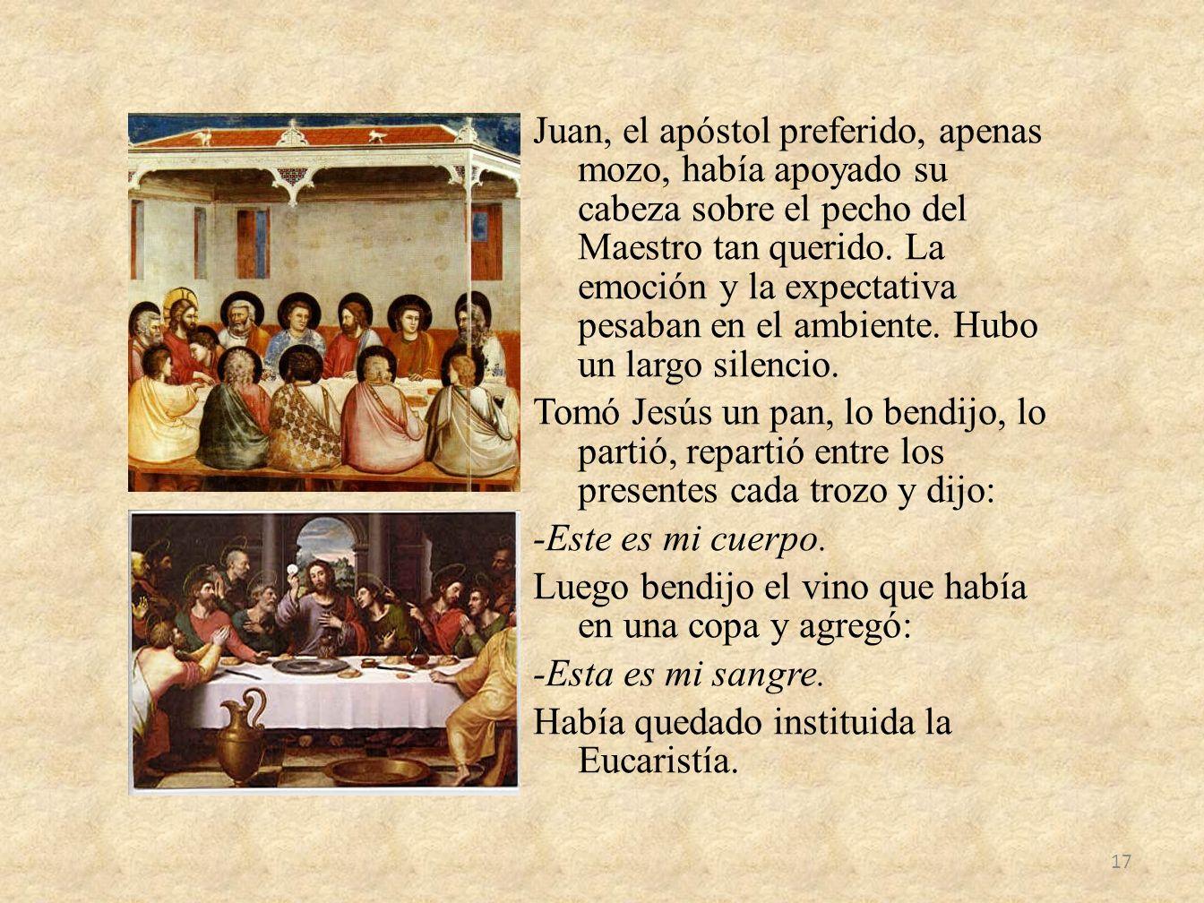 Juan, el apóstol preferido, apenas mozo, había apoyado su cabeza sobre el pecho del Maestro tan querido. La emoción y la expectativa pesaban en el amb