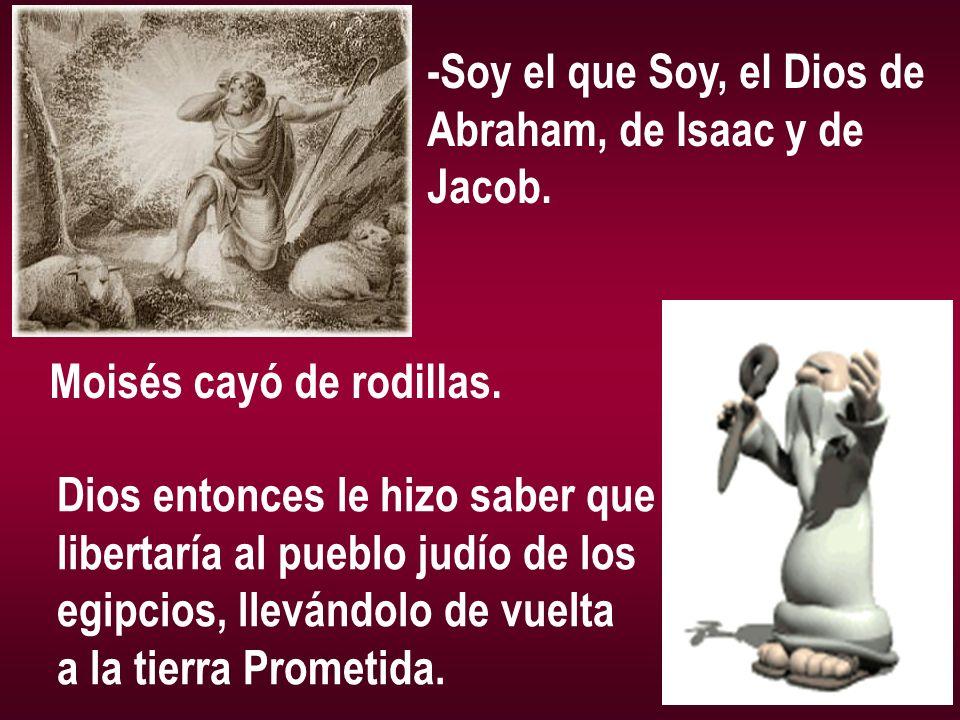 -Soy el que Soy, el Dios de Abraham, de Isaac y de Jacob. Moisés cayó de rodillas. Dios entonces le hizo saber que libertaría al pueblo judío de los e