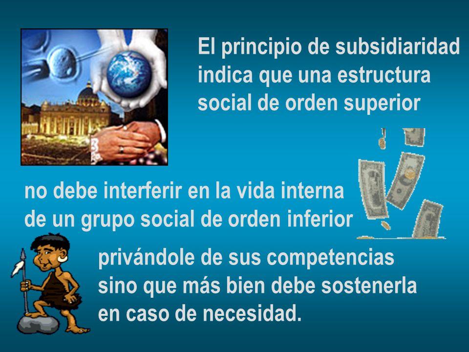 El principio de subsidiaridad indica que una estructura social de orden superior no debe interferir en la vida interna de un grupo social de orden inf