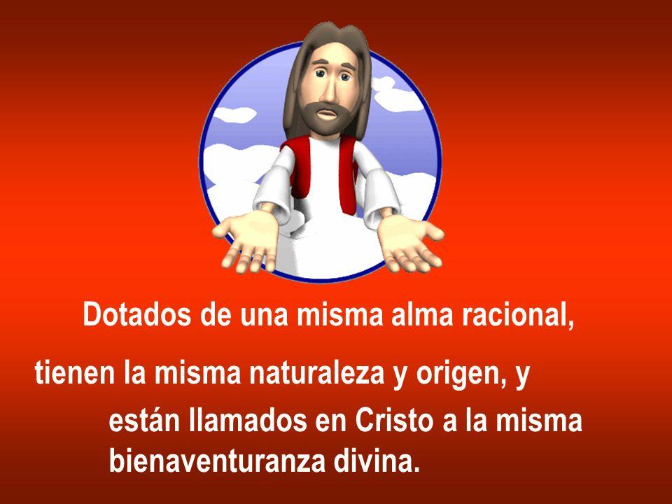 Dotados de una misma alma racional, tienen la misma naturaleza y origen, y están llamados en Cristo a la misma bienaventuranza divina.