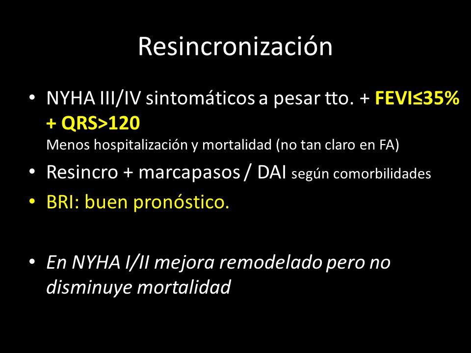 NYHA III/IV sintomáticos a pesar tto. + FEVI35% + QRS>120 Menos hospitalización y mortalidad (no tan claro en FA) Resincro + marcapasos / DAI según co