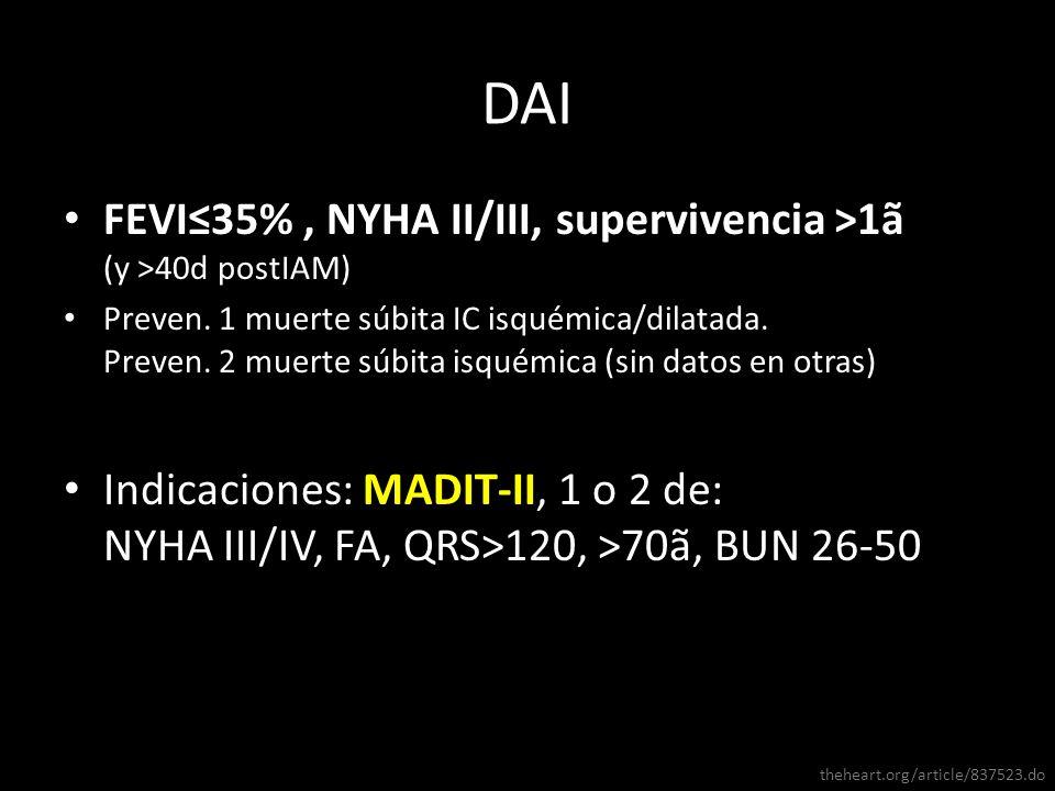FEVI35%, NYHA II/III, supervivencia >1ã (y >40d postIAM) Preven. 1 muerte súbita IC isquémica/dilatada. Preven. 2 muerte súbita isquémica (sin datos e