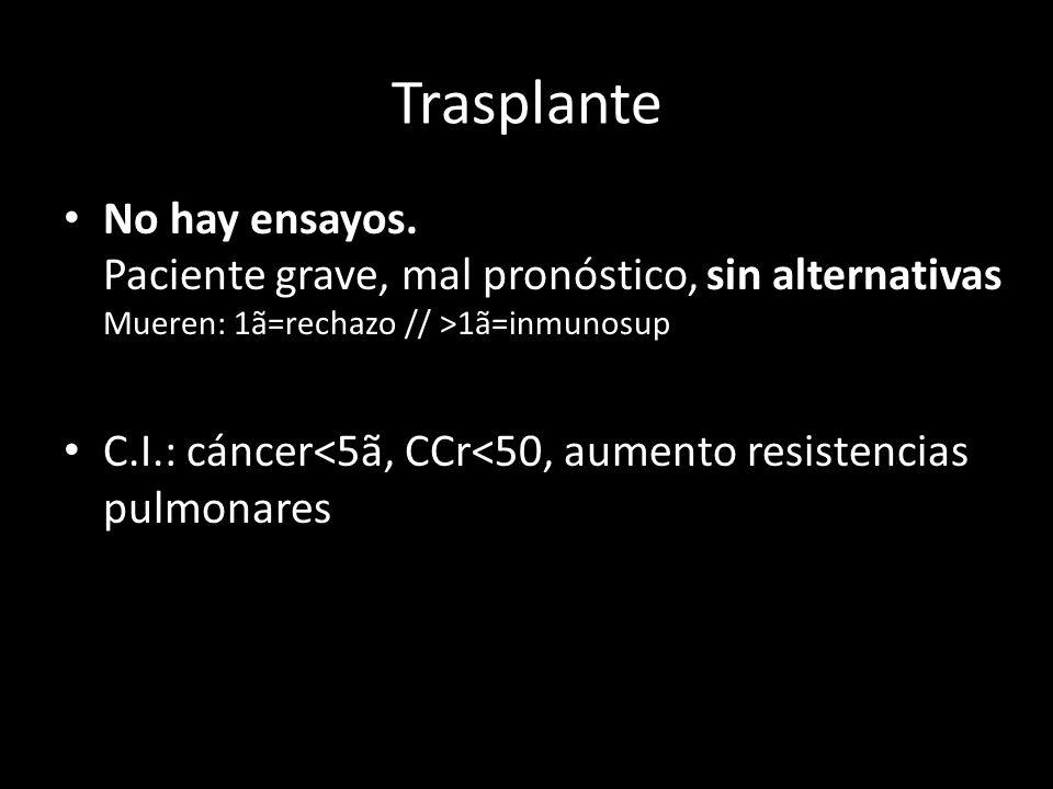 No hay ensayos. Paciente grave, mal pronóstico, sin alternativas Mueren: 1ã=rechazo // >1ã=inmunosup C.I.: cáncer<5ã, CCr<50, aumento resistencias pul