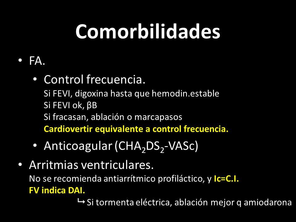 Comorbilidades FA. Control frecuencia. Si FEVI, digoxina hasta que hemodin.estable Si FEVI ok, βB Si fracasan, ablación o marcapasos Cardiovertir equi