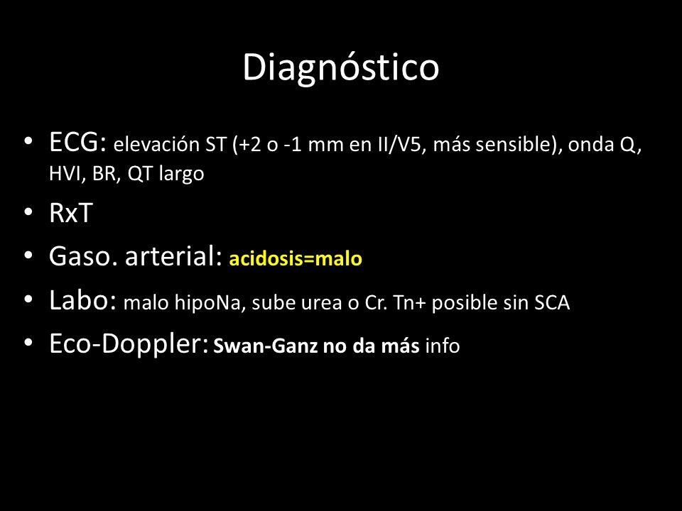 ECG: elevación ST (+2 o -1 mm en II/V5, más sensible), onda Q, HVI, BR, QT largo RxT Gaso. arterial: acidosis=malo Labo: malo hipoNa, sube urea o Cr.