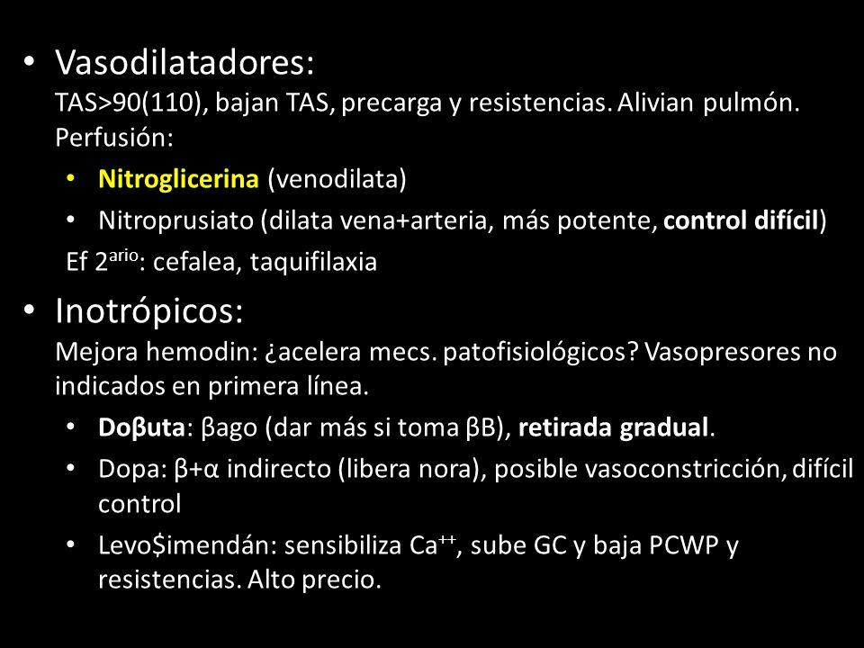 Vasodilatadores: TAS>90(110), bajan TAS, precarga y resistencias. Alivian pulmón. Perfusión: Nitroglicerina (venodilata) Nitroprusiato (dilata vena+ar