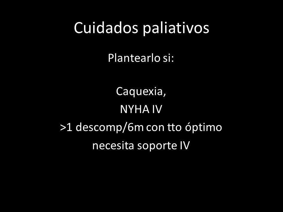 Plantearlo si: Caquexia, NYHA IV >1 descomp/6m con tto óptimo necesita soporte IV Cuidados paliativos