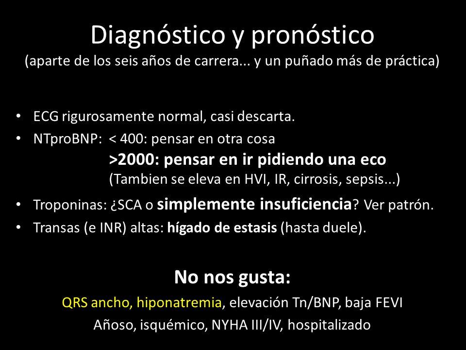 Diagnóstico y pronóstico (aparte de los seis años de carrera... y un puñado más de práctica) ECG rigurosamente normal, casi descarta. NTproBNP: 2000: