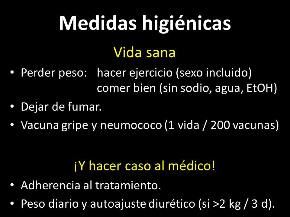 Fármacos Dan vida y te alejan del hospital: IECA (y ARA2), βB Mejoran síntomas: digoxina, hidralazina+DNI, diuréticos