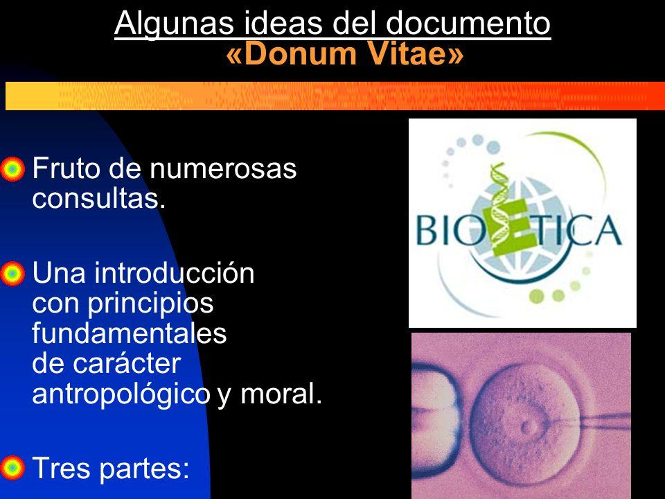 Algunas ideas del documento «Donum Vitae» Fruto de numerosas consultas. Una introducción con principios fundamentales de carácter antropológico y mora