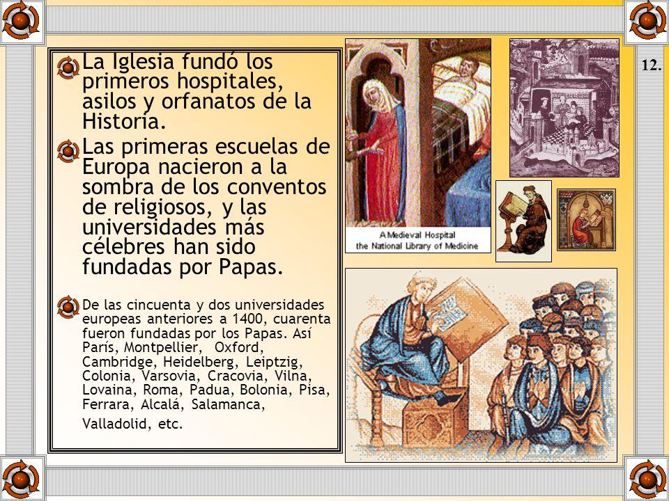 La Iglesia fundó los primeros hospitales, asilos y orfanatos de la Historia. Las primeras escuelas de Europa nacieron a la sombra de los conventos de
