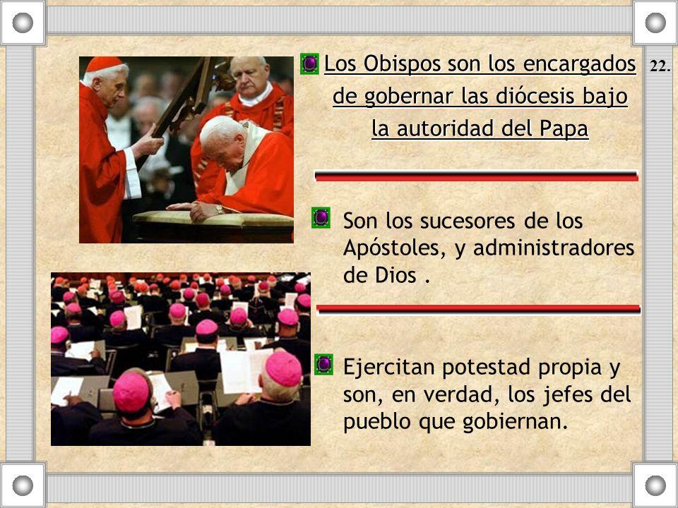 Los Obispos son los encargados de gobernar las diócesis bajo la autoridad del Papa Son los sucesores de los Apóstoles, y administradores de Dios. Ejer