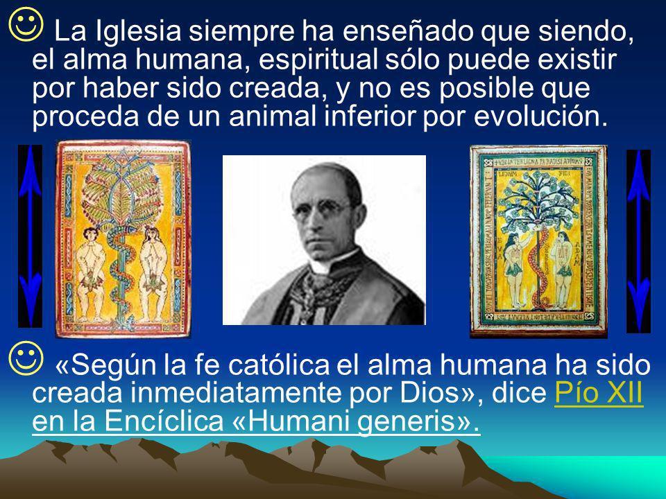 La Iglesia siempre ha enseñado que siendo, el alma humana, espiritual sólo puede existir por haber sido creada, y no es posible que proceda de un anim