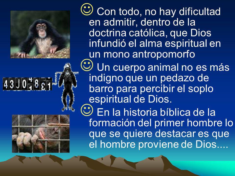 Con todo, no hay dificultad en admitir, dentro de la doctrina católica, que Dios infundió el alma espiritual en un mono antropomorfo Un cuerpo animal