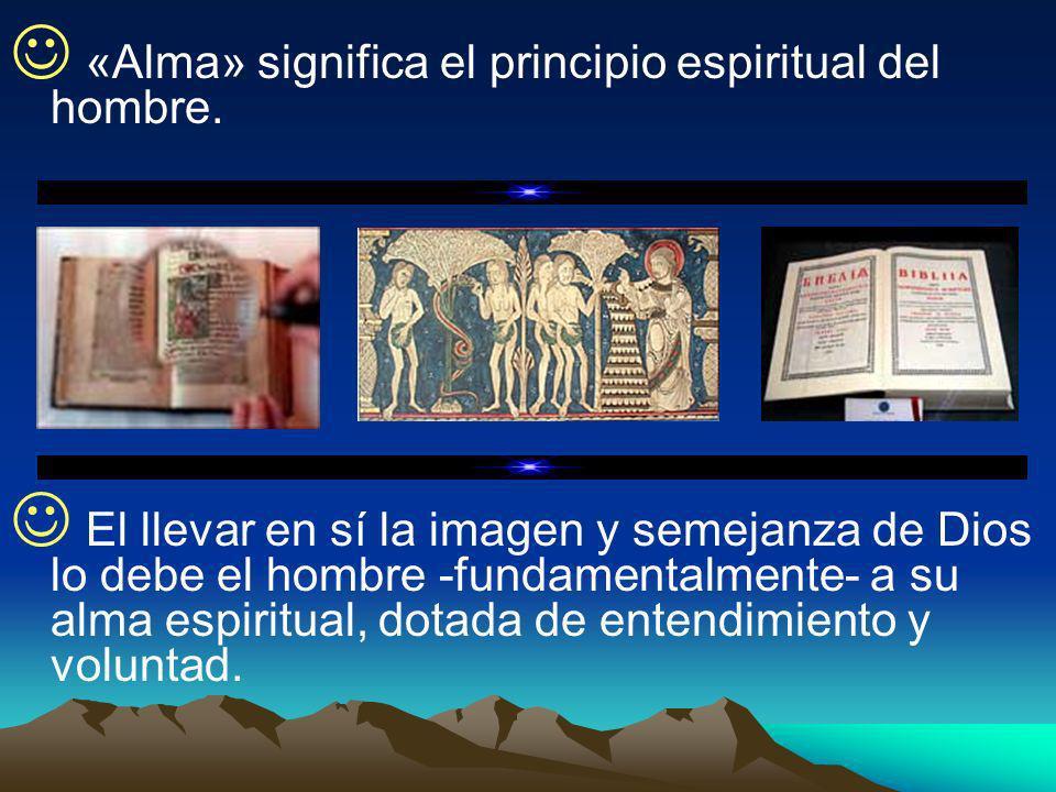 «Alma» significa el principio espiritual del hombre. El llevar en sí la imagen y semejanza de Dios lo debe el hombre -fundamentalmente- a su alma espi