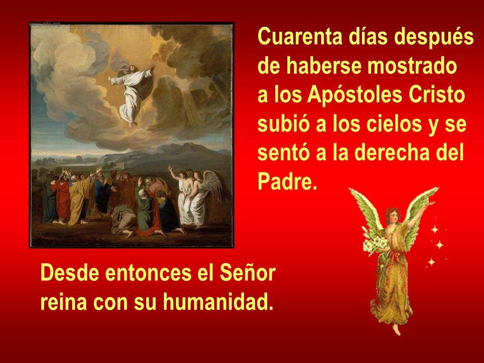 Cuarenta días después de haberse mostrado a los Apóstoles Cristo subió a los cielos y se sentó a la derecha del Padre. Desde entonces el Señor reina c