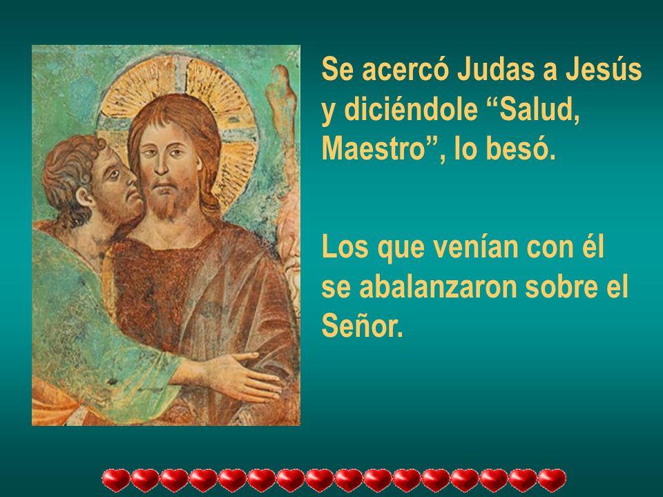 Se acercó Judas a Jesús y diciéndole Salud, Maestro, lo besó. Los que venían con él se abalanzaron sobre el Señor.