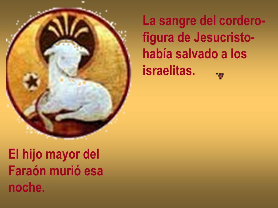 La sangre del cordero- figura de Jesucristo- había salvado a los israelitas. El hijo mayor del Faraón murió esa noche.