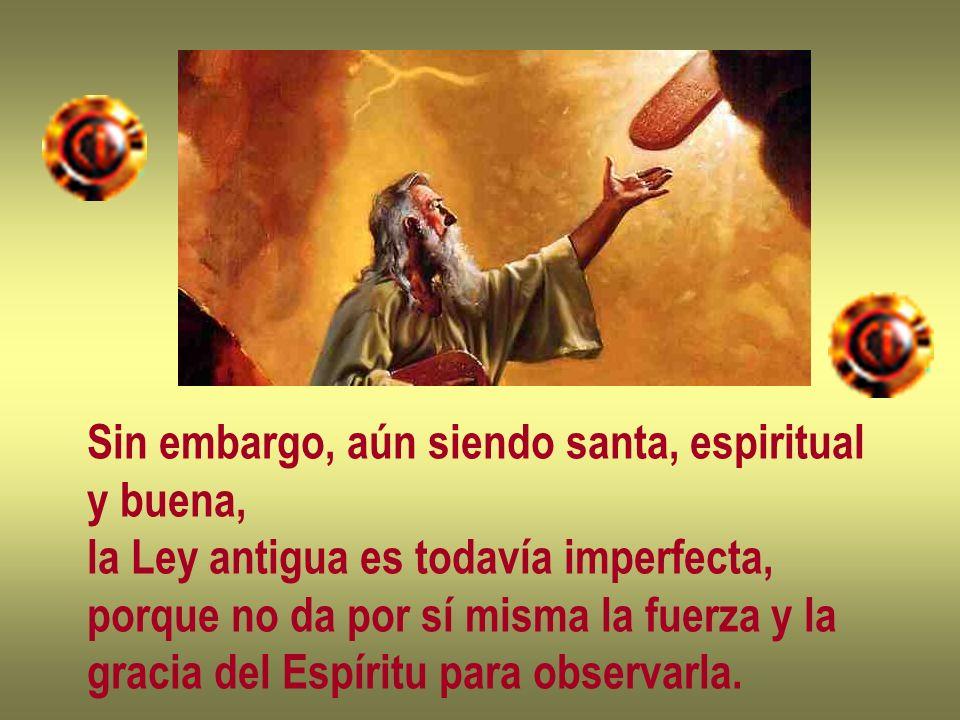 Sin embargo, aún siendo santa, espiritual y buena, la Ley antigua es todavía imperfecta, porque no da por sí misma la fuerza y la gracia del Espíritu