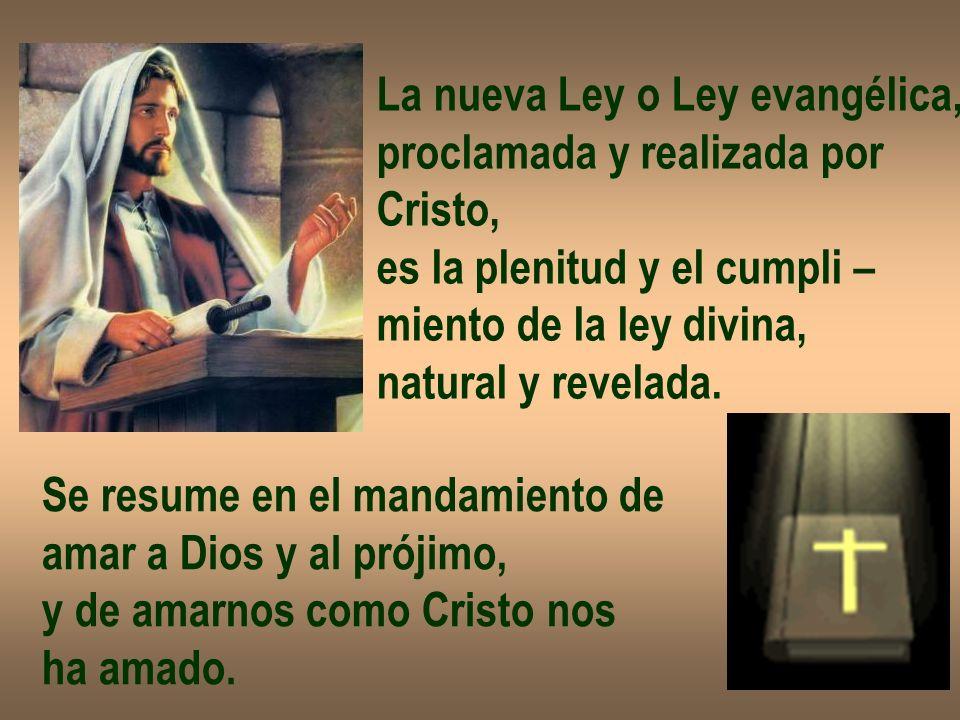 La nueva Ley o Ley evangélica, proclamada y realizada por Cristo, es la plenitud y el cumpli – miento de la ley divina, natural y revelada. Se resume