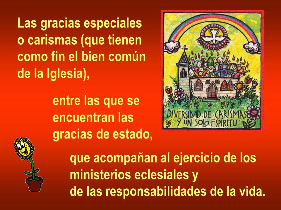 Las gracias especiales o carismas (que tienen como fin el bien común de la Iglesia), entre las que se encuentran las gracias de estado, que acompañan