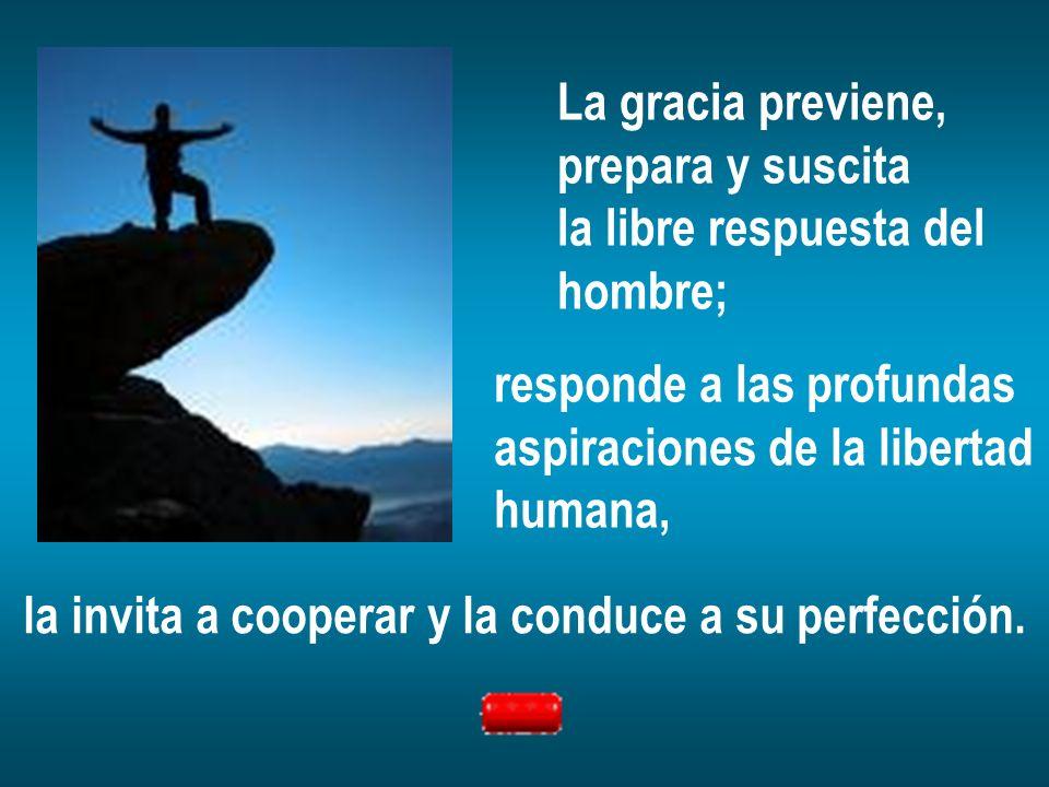 La gracia previene, prepara y suscita la libre respuesta del hombre; responde a las profundas aspiraciones de la libertad humana, la invita a cooperar