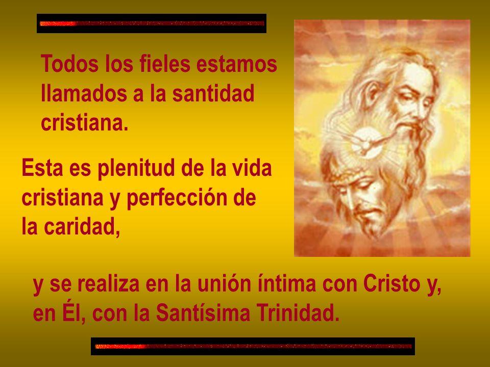 Todos los fieles estamos llamados a la santidad cristiana. Esta es plenitud de la vida cristiana y perfección de la caridad, y se realiza en la unión
