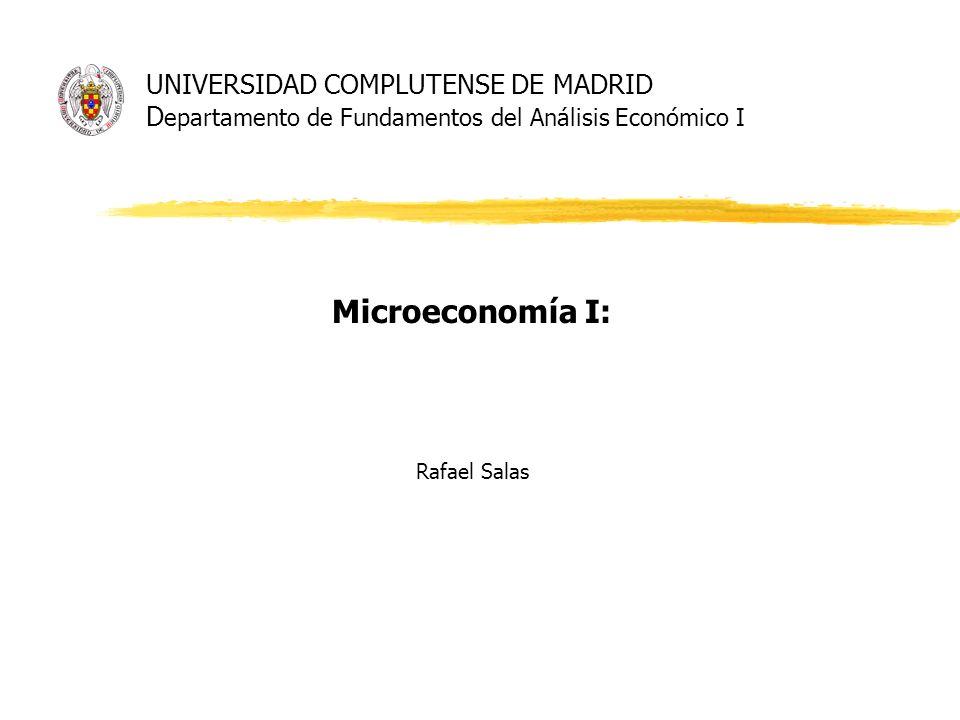 UNIVERSIDAD COMPLUTENSE DE MADRID D epartamento de Fundamentos del Análisis Económico I Microeconomía I: Rafael Salas