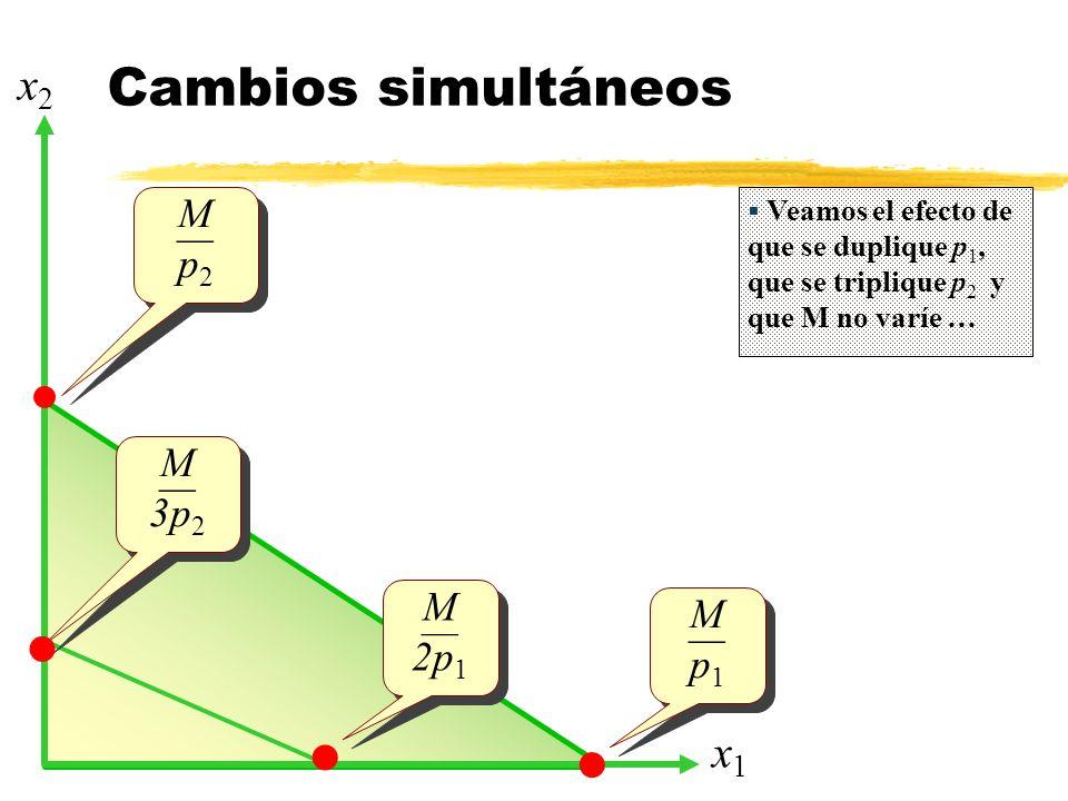 Cambios simultáneos x1x1 x2x2 M p 2 M p 2 M p 1 M p 1 Veamos el efecto de que se duplique p 1, que se triplique p 2 y que M no varíe … M 2p 1 M 2p 1 M 3p 2 M 3p 2