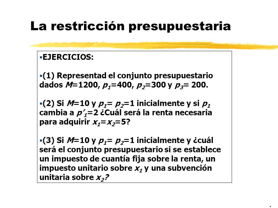 La restricción presupuestaria EJERCICIOS: (1) Representad el conjunto presupuestario dados M=1200, p 1 =400, p 2 =300 y p 3 = 200. (2) Si M=10 y p 1 =