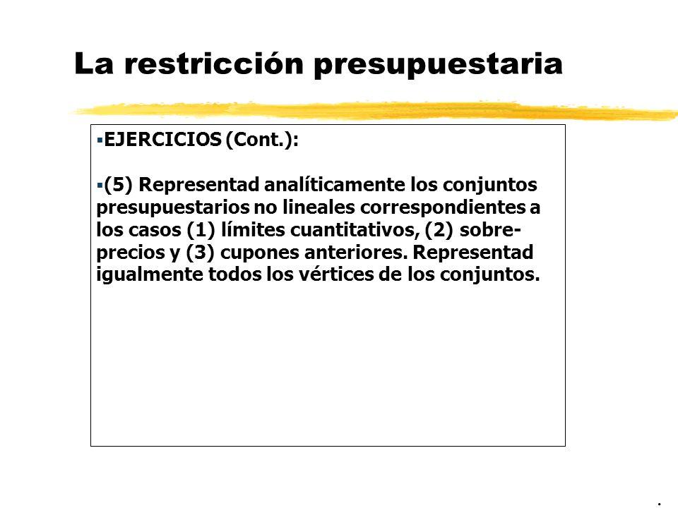 La restricción presupuestaria EJERCICIOS (Cont.): (5) Representad analíticamente los conjuntos presupuestarios no lineales correspondientes a los casos (1) límites cuantitativos, (2) sobre- precios y (3) cupones anteriores.