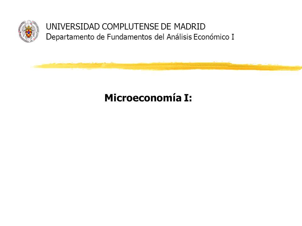 UNIVERSIDAD COMPLUTENSE DE MADRID D epartamento de Fundamentos del Análisis Económico I Microeconomía I: