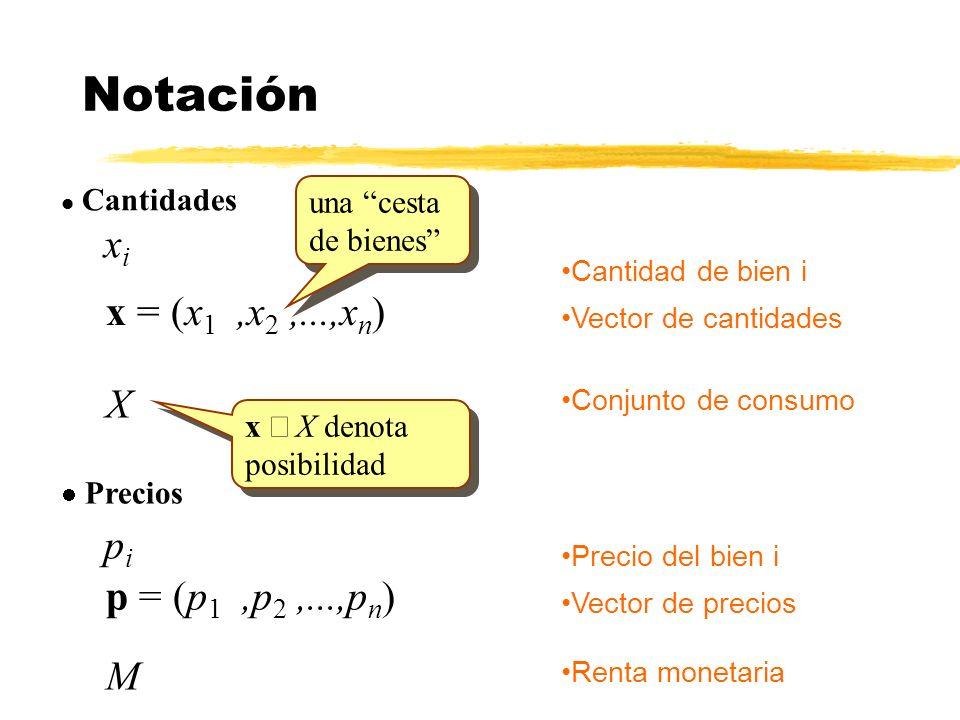 l Cantidades xixi Notación Cantidad de bien i x = (x 1,x 2,...,x n ) Vector de cantidades Conjunto de consumo X Precios pipi Precio del bien i p = (p 1,p 2,...,p n ) Vector de precios Renta monetaria M x X denota posibilidad una cesta de bienes