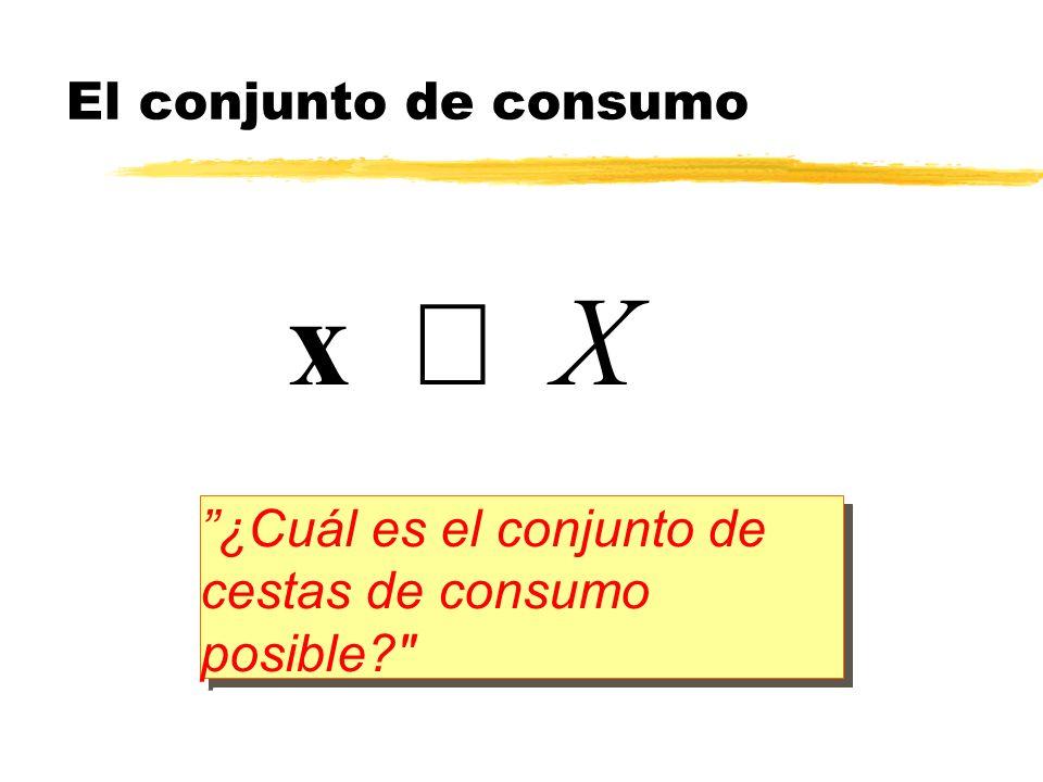 x1x1 x2x2 Se supone que el conjunto X consiste en todo el ortante no negativo Consumos cero tienen sentido económico Los bienes de consumo son divisibles y expandibles indefinidamente El conjunto de consumo Pero consumos negativos son descartados por definición