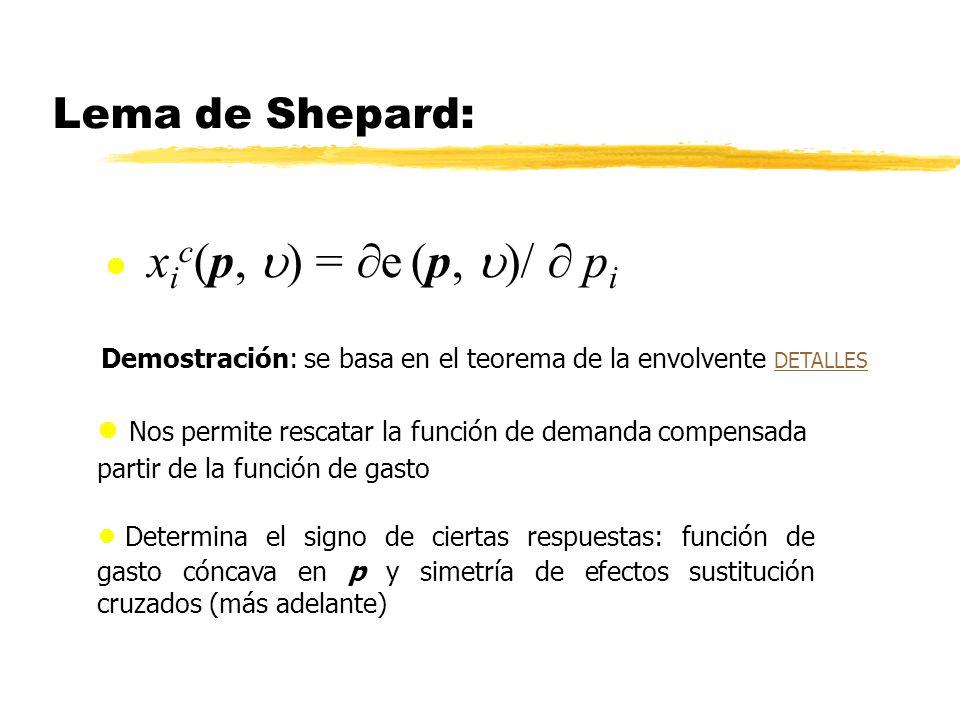 Lema de Shepard: x i c (p, ) = e (p, )/ p i Determina el signo de ciertas respuestas: función de gasto cóncava en p y simetría de efectos sustitución