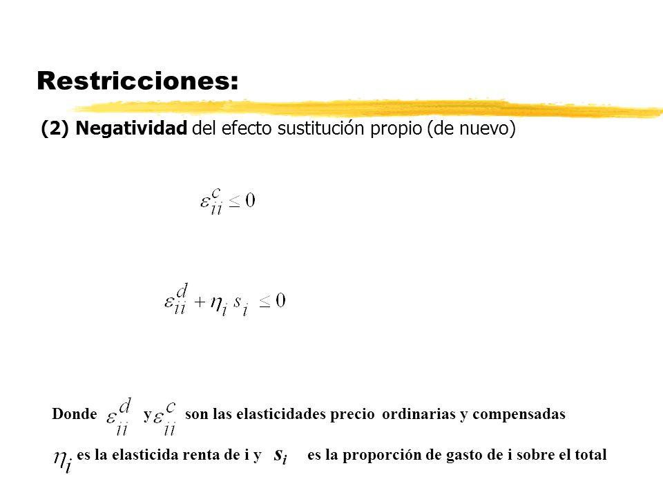 Restricciones: (2) Negatividad del efecto sustitución propio (de nuevo) Donde y son las elasticidades precio ordinarias y compensadas es la elasticida