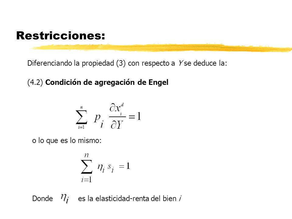 Restricciones: Diferenciando la propiedad (3) con respecto a Y se deduce la: (4.2) Condición de agregación de Engel o lo que es lo mismo: Donde es la
