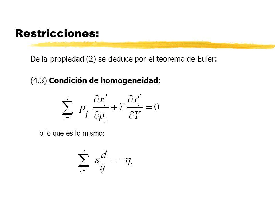 Restricciones: De la ecuación de Slutsky deduciremos más adelante otra serie de restricciones sobre los signos.