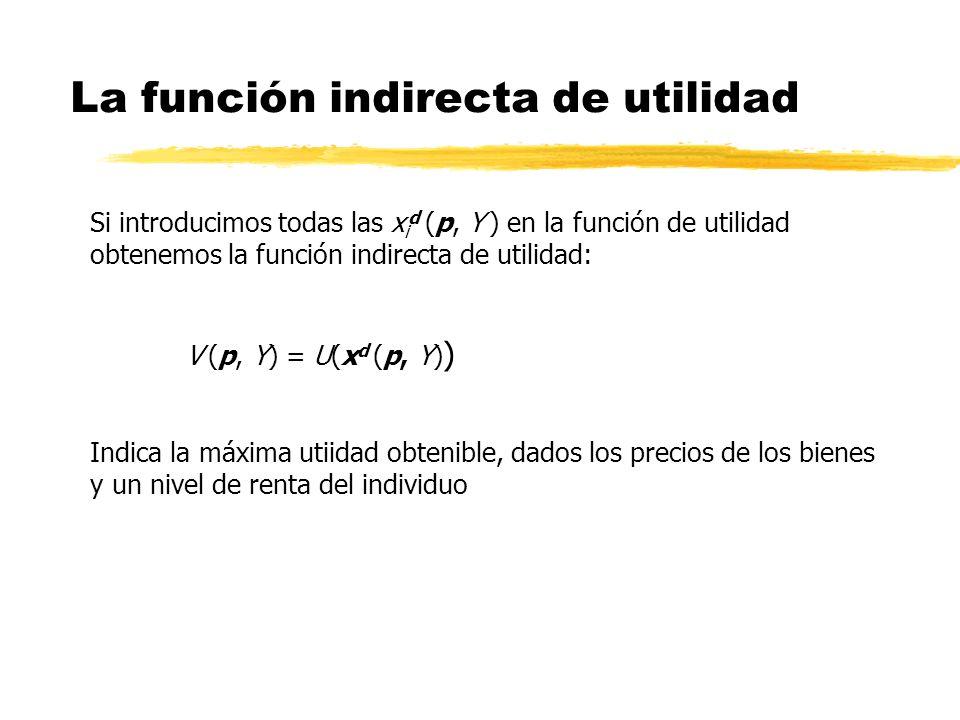 La función indirecta de utilidad Si introducimos todas las x i d (p, Y ) en la función de utilidad obtenemos la función indirecta de utilidad: V (p, Y